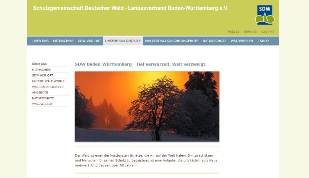 Screenshot der neuen Internetseite des SDW-Landesverbandes Baden-Württemberg e.V.